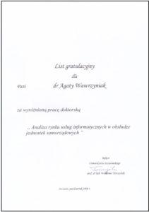 List gratulacyjny AW1